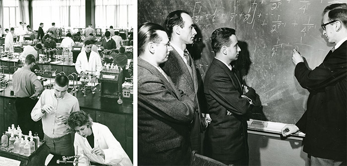 Left: Carleton chemistry laboratory, October 1961. Library Special Collections fonds. | Right: Mathematics teacher explaining a math problem, 1950. Library Special Collections fonds.