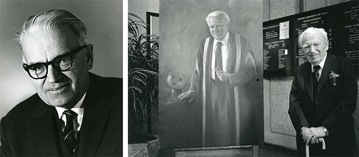 Left: Dr. Gerhard Herzberg portrait, c. 1960. Department of University Communications fonds. Right: Dr. Herzberg poses in front of painted portrait, 1995. Library Special Collections fonds.