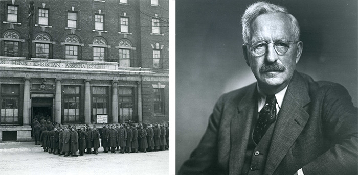 Left: Men lining up at the YMCA at Metcalfe and Laurier. This is the location where the Ottawa Association for the Advancement of Learning began Carleton College through its meetings, c. 1935 | Right: Portrait of Henry Marshall Tory, c. 1942.