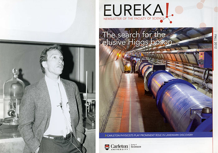 "Left: Lawrence Krauss, 1989. Development and Alumni Services fonds. | Right: ""The search for the elusive Higgs boson,"" Cover of Eureka! Newsletter of the Faculty of Science, Fall 2012. Archives and Research Collections, Carleton University Library."