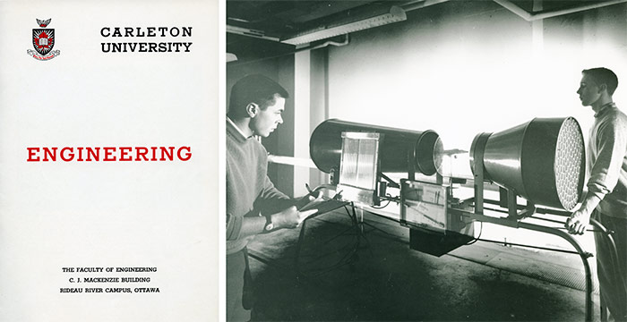 Left: Carleton University Engineering brochure, Department of University Communications fonds. | Right: Final-year engineering students demonstrate the use of the Wind Tunnel for detecting flutter in aircraft wings and tail assemblies, c. 1958. Library Special Collections fonds.