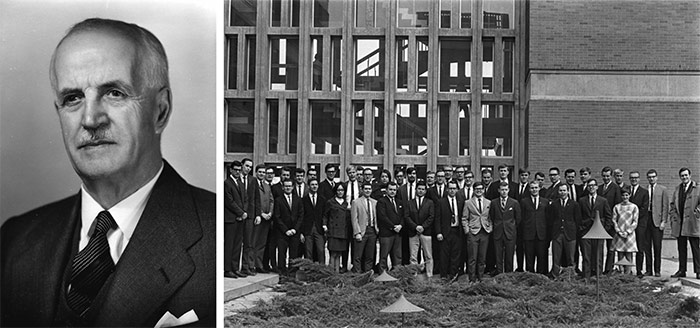 Left: Chancellor Chalmers Jack Mackenzie, c. 1953. Department of University Communications fonds. | Right: Civil engineering class of 1968 group photo outside the C.J. Mackenzie Building. Department of Mechanical and Aerospace Engineering fonds, Archives and Research Collections, Carleton University Library.