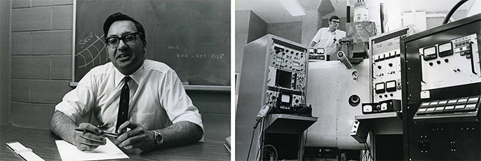 Left: H.I.H. Saravanamuttoo – Associate Professor of Engineering, 1974. Department of University Communications fonds. | Right: Professor John Goldak with Electron Beam System, used to develop industrial processes such as welding and melting, c. 1975.
