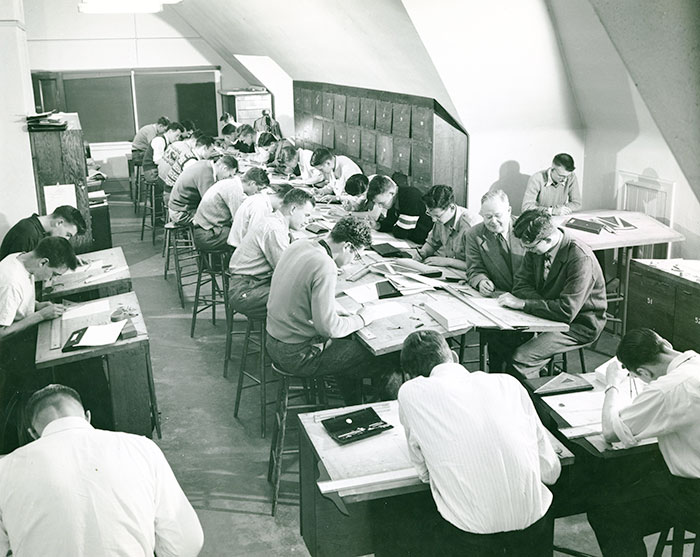 Students in drafting class, c. 1962. Library Special Collections fonds.