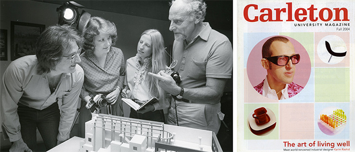 "Left: Architecture and Industrial Design class, c. 1979. Library Special Collections fonds. | Right: Cover, ""The art of living well,"" profile article on Karim Rashid, Carleton University Magazine, Fall 2004."