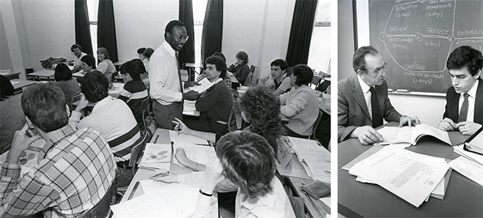 Left: Professor Kiggundu conducts lecture, School of Business, 1985. Library Special Collections fonds. | Right: A faculty member and student from the School of Business study, 1985. Library Special Collections fonds.