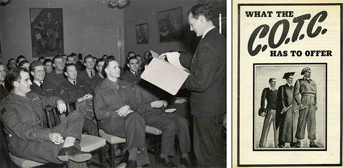 Left: Veterans, many still in uniform, came to Carleton College in the early days, c. 1943. Library Special Collections fonds. | Right: Canadian Officers' Training Corps information booklet, Canadian Officers' Training Corps fonds, Archives and Research Collections, Carleton University Library.