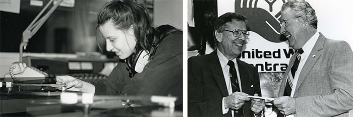 Left: Carla Parchelo, music announcer for CKCU radio station, November 1991. Department of University Communications fonds. | Right: President William E. Beckel presents a cheque to the United Way Kick-off, September 29, 1989. Department of University Communications fonds.