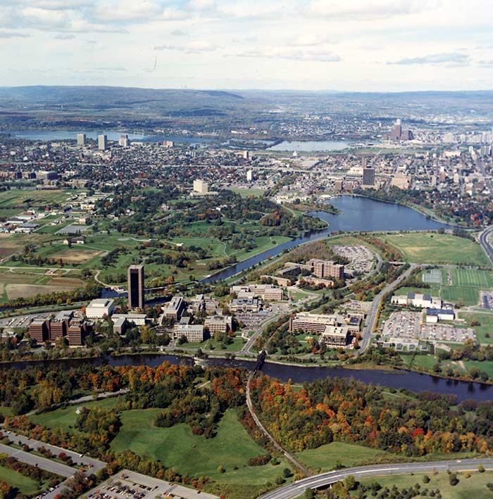 Aerial view of Carleton University, c. 1988. Library Special Collections fonds.