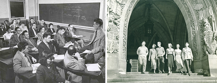 Left: In 1953, a class of Political Science students study the details of citizenship. Carleton University Library Historical Photographs. | Right: Students at Parliament Hill's front entrance, c. 1960. Carleton University Library Historical Photographs.