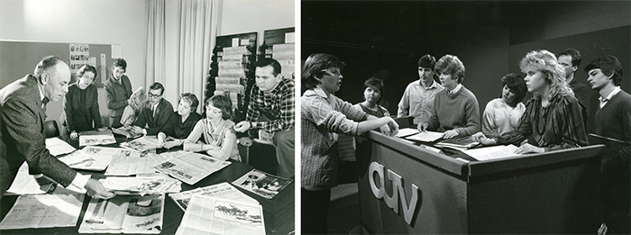 Left: Journalism Class with Professor Wilfrid Eggleston, Canadian journalist and writer, c. 1958. Library Special Collections fonds. | Right: School of Journalism, CUTV Production, c. 1985. Library Special Collections fonds.
