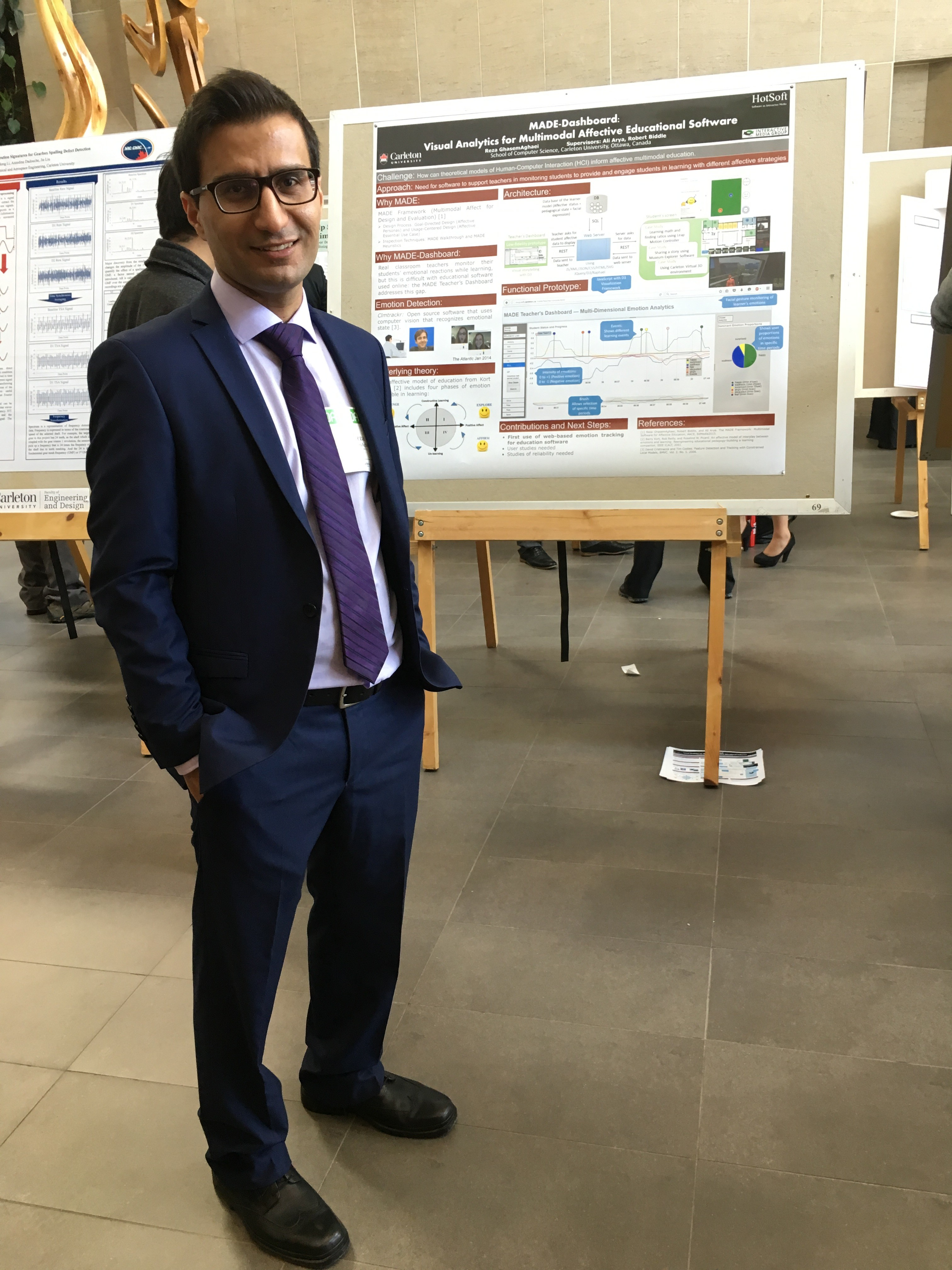 """Computer Science student, Reza GhasemAghaei, shares his project, """"MADE-Dashboard: Visual Analytics for Multimodal Affective Educational Software"""""""