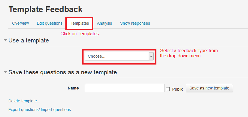 Image indicating where to find the templates tab and where the drop down menu for choosing a template, is located.