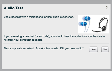 This image is a screen shot of the audio test window users will see before their BBB session. The audio test allows the user to check that their microphone and speakers are working prior to beginning the BBB session.