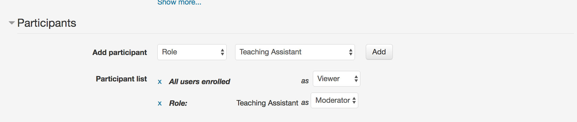 "This screen shot provides a visual of the BBB settings window where the user can select and assign different participant roles. The image shows that the Teaching Assistant can be assigned a role of Moderator and all users can be assigned the role of ""viewer""."