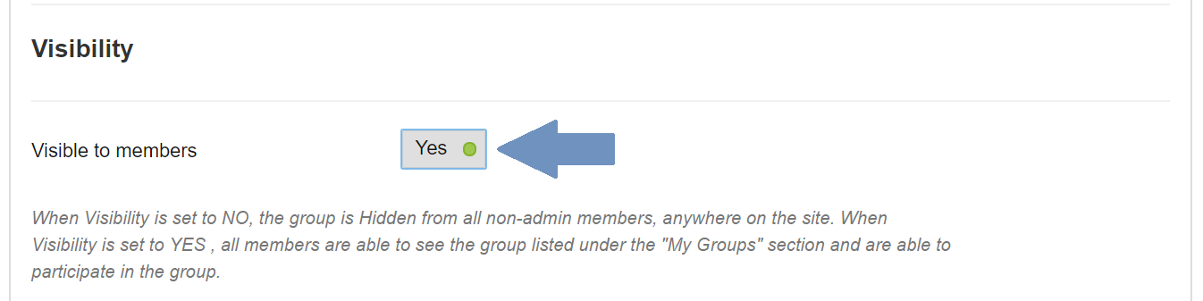 Screenshot of Visibility section of group settings