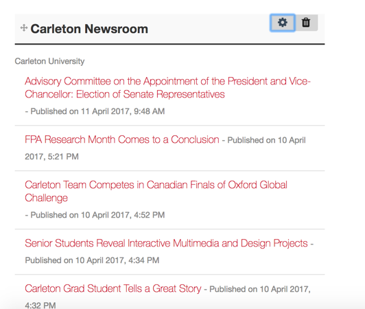 rss feed in cuportfolio
