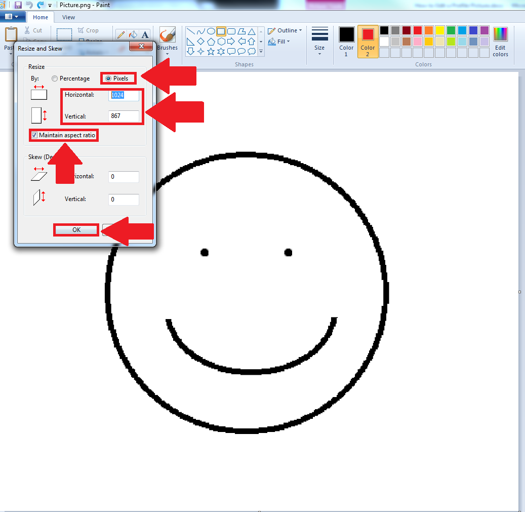 Screenshot of resizing image in Paint program, resize and skew pop up box highlighted
