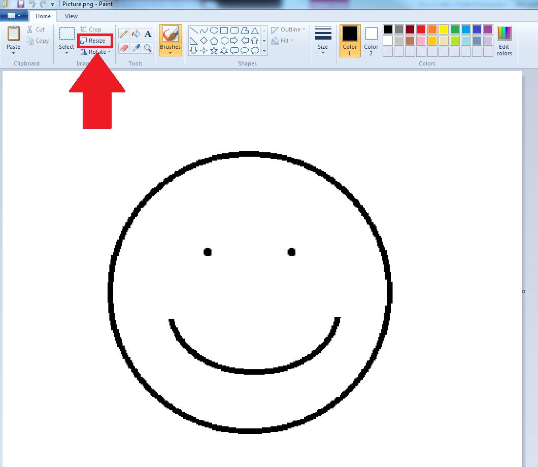 Screenshot of resizing image in Paint program