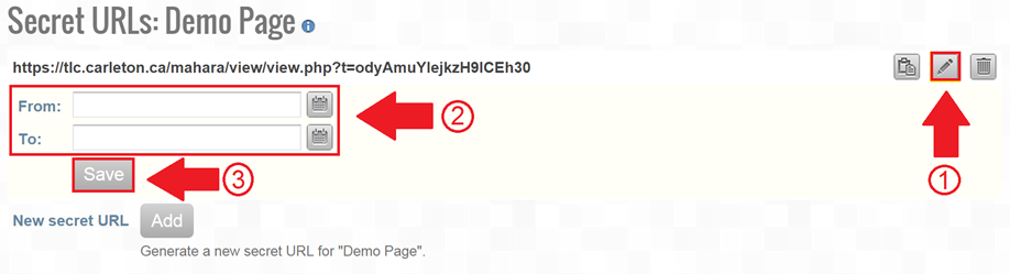 Screenshot of secret URL page, access start and end times highlighted