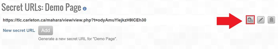 Screenshot of secret URL page, copy URL button highlighted