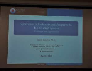 First slide of the presentation: Cybersecurity Evaluation and Assurance for IoT-Enabled Systems