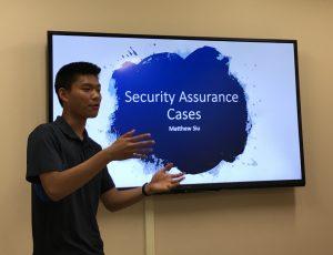Matthew Siu presenting his research work on Security Assurance Cases during a CyberSEA Research Lab group meeting.