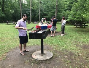 Dr. Jason Jaskolka grilling some lunch for 1st Annual CyberSEA Research Lab Summer BBQ