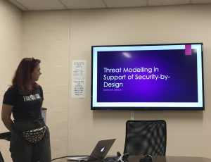Bohdana Sereda presenting her research work on Threat Modeling in Support of Security-By-Design during a CyberSEA Research Lab group meeting.