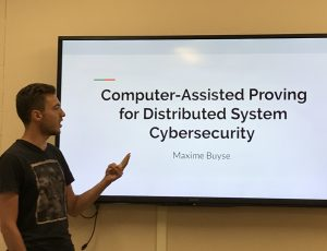 Maxime Buyse presenting his research work on Computer-Assisted Proving for Distributed Systems Cybersecurity during a CyberSEA Research Lab group meeting.