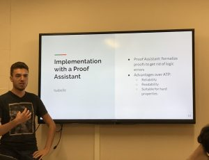 Maxime Buyse presenting the details of his implementation of Communicating Concurrent Kleene Algebra with the Isabelle Proof Assistant.