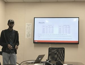 Pruthvi Chivukula explaining his experimental results on evaluating the effectiveness of the secure state machine pattern.