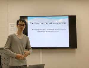 Quentin Yang outlining the objective of his research internship within the CyberSEA Research Lab.