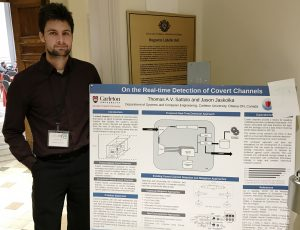 Thomas Sattolo presenting his poster 'On the Real-time Detection of Covert Channels' at the 2019 SERENE-RISC Annual Workshop.