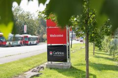 Welcome sign on Carleton campus
