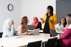 Instructor teaching students in classroom