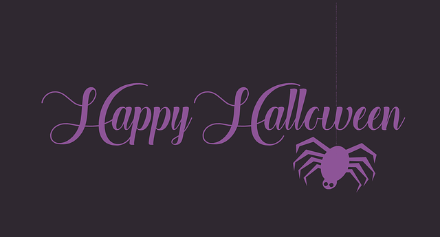 happy halloween text with a spider