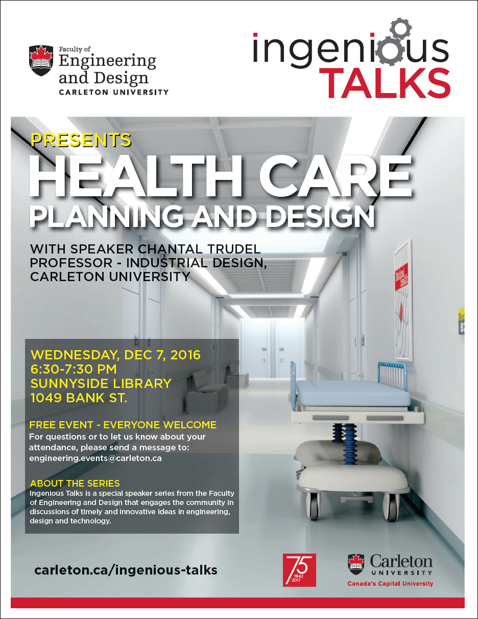 Ingenious Talks - Health Care Planning and Design Full Poster - December 7