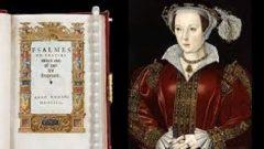 Image of an Elite Tudor Women beside a large prayer book.