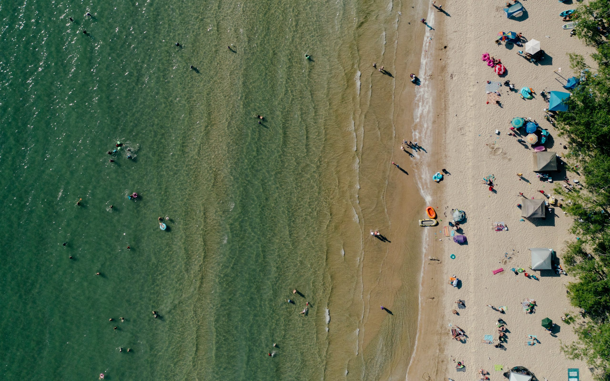 drone's eye view of a beach, people on the beach
