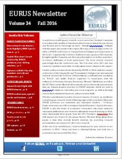 Picture of front page of EURUS Fall 2016 Newsletter