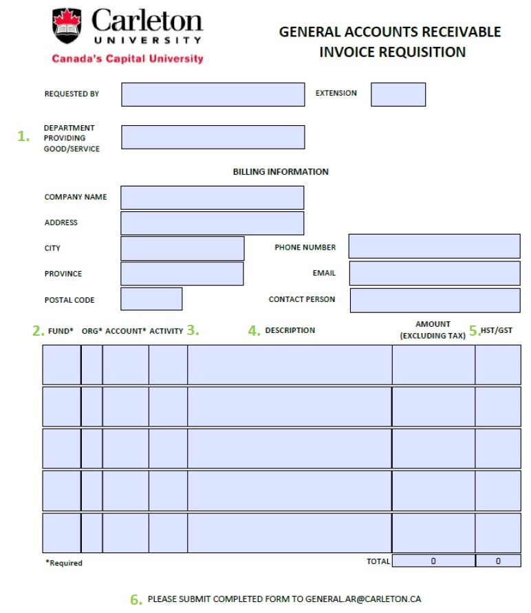 Invoicing - University invoice template