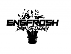 The engineering orientation logo which is a lightbulb with the text EngFrosh Dawn of Energy