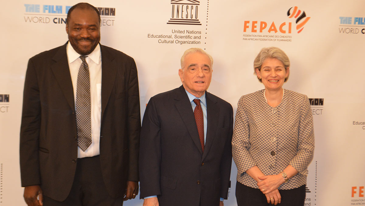 Left to right: African cinema scholar, Professor Aboubakar Sanogo, celebrated film director Martin Scorsese, and UNESCO Director General Irina Bokova. Photo courtesy of Dave Allocca/ Starpix Courtesy of The Film Foundation.