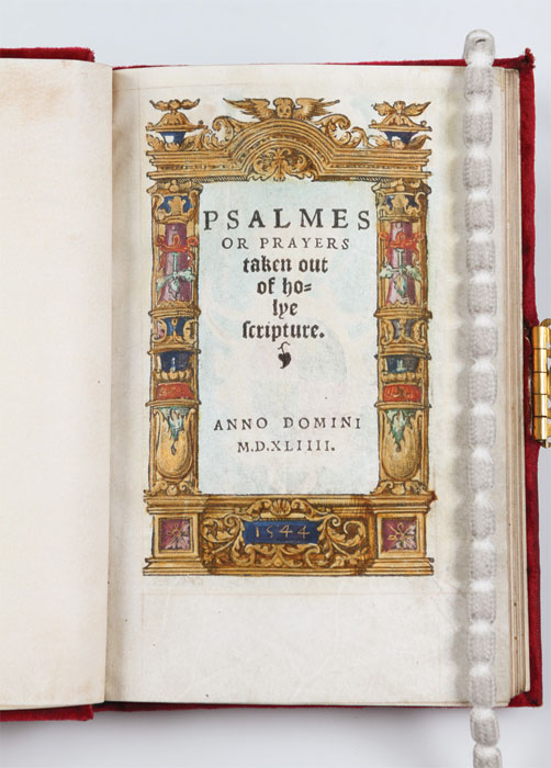 The title page of Psalms or Prayers. Image courtesy of Wormsley Library.