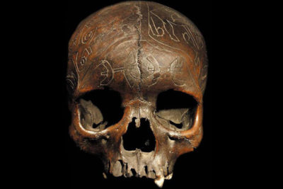 Dayak carved trophy skull. Image courtesy of a US gallery