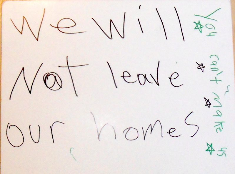 A sign made by young residents of Herongate.