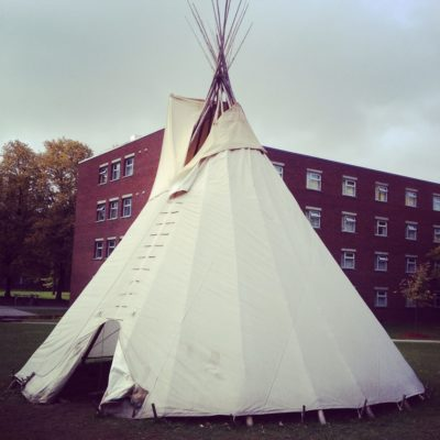 Completed tipi beside St. Pat's (Sandra Dyck)
