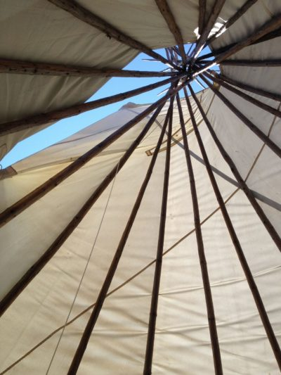 Looking up inside the tipi (Photo by Sandra Dyck)