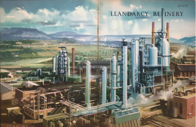 Artist's rendering of the British Petroleum (BP) oil refinery in Llandarcy, Wales, 1922. It was the UK's first oil refinery.